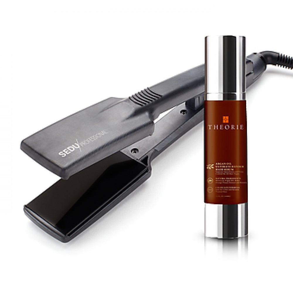 "Sedu Professional 1½"" Flat Iron + Theorie Argan Oil Repair Hair Serum"
